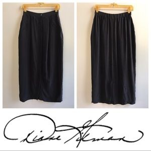Vintage 90s Silk Maxi Pencil Skirt Black Silk 4